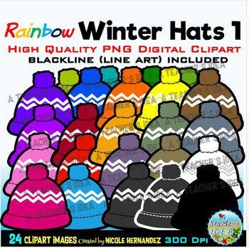 Rainbow Winter Hats Clip Art for Personal and Commercial Use