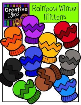 Rainbow Winter Mittens {Creative Clips Digital Clipart}