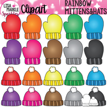 Rainbow Winter Mittens and Hats Clipart