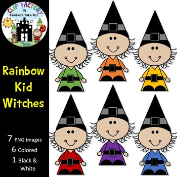 Rainbow Witches Clip Art