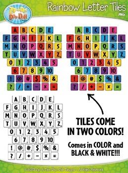Rainbow Wood Alphabet Tiles Clip Art Set — Over 150 Graphics!