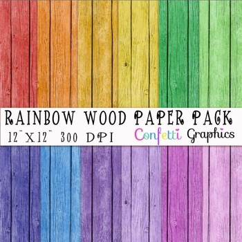 "Wood Textures In Rainbow Colors 12 Digital Background 12""x12"""