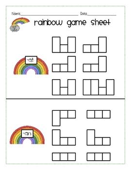 Rainbow Word Families short a
