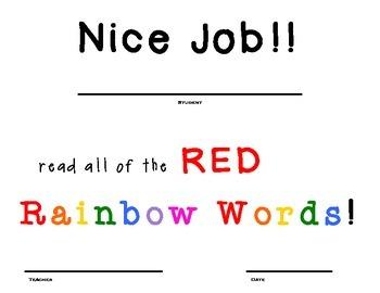 Rainbow Word/ Sight Word Certificates