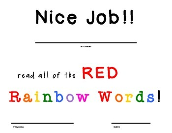 Rainbow Word/ Sight Word Certificates