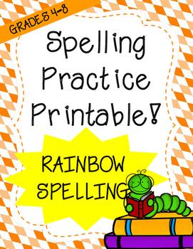 Word Work: Rainbow Words (Spelling Worksheet)