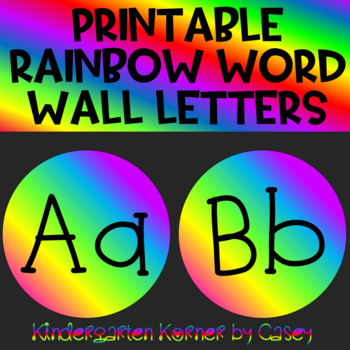 "Rainbow Word Wall Header and Letter Set Bulletin Board 2 Font Choices 5"" Circles"
