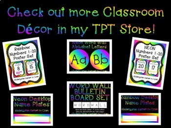 "Rainbow Word Wall Header and Letter Set Bulletin Board 2 Font Choices 5"" Circles"