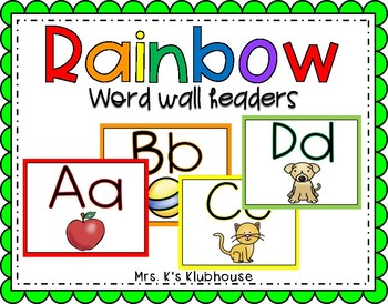 Rainbow Word Wall Headers with Pictures
