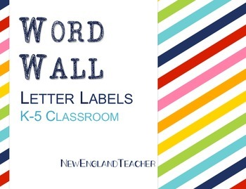 Rainbow Word Wall Letters A-Z for Elementary Classroom Grades K-5