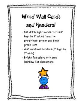 Rainbow Word Wall Words & Headers A-Z: Classroom Decor