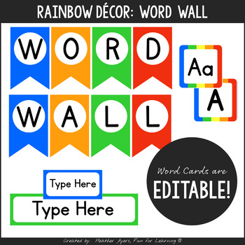Rainbow Editable Word Wall