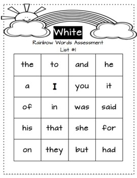 Rainbow Words Assessment System