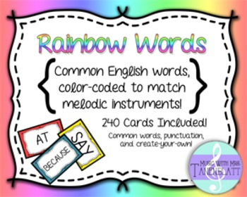 Rainbow Words: Common words color coded for melody