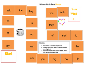 Rainbow Words Game- Orange