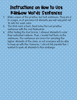 Rainbow Words: High Frequency Word Program