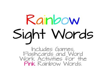 Rainbow Words - Pink List #2