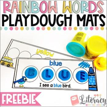 Rainbow Words Playdough Mats {FREE Sample of my Word Building Playdough Mats}