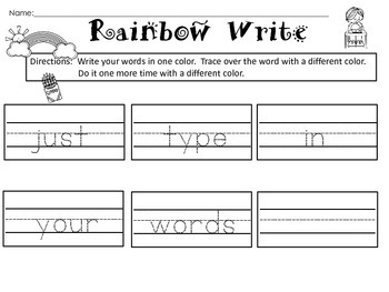Free Rainbow Words Printable