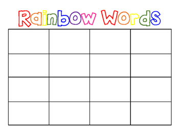 Rainbow Words (Sight Word Activity)