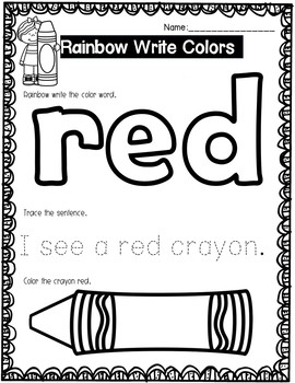 Rainbow Write Color Pages