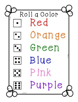 Rainbow Write Dice Center {Reading and Math}