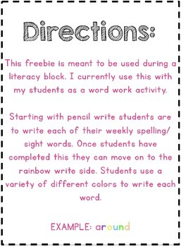 Rainbow Write Freebie (NO PREP)