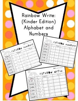 Rainbow Write Kindergarten (Alphabet and numbers)