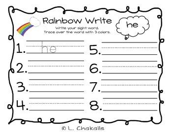 Rainbow Write - Kindergarten Sight Word Activity