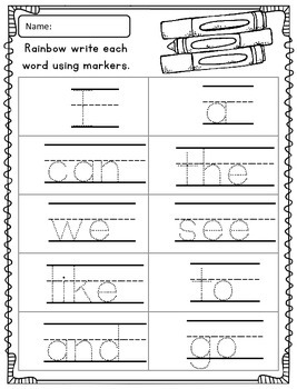 Rainbow Write Sight Words