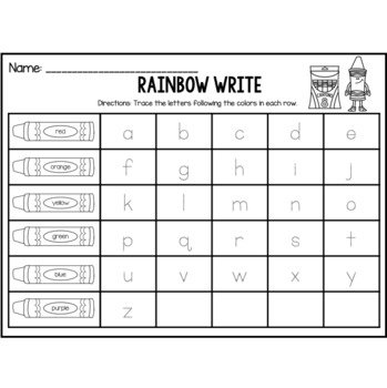 Rainbow Write Lowercase Letters
