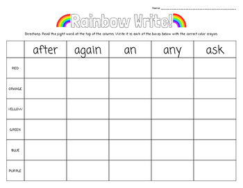 Rainbow Write! Primer and First Grade Dolch Words... FREE Preview Included!