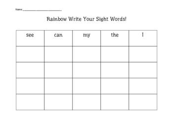 Rainbow Write Sight Words