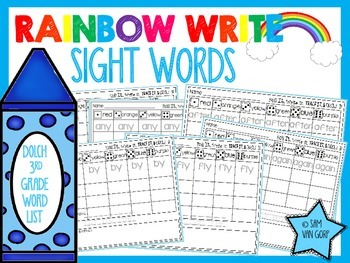 Rainbow Write Sight Words *3rd Grade List*
