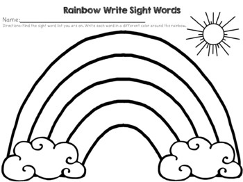Rainbow Write Sight Words- FREEBIE
