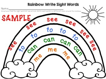 Rainbow Write Sight Words- FREEBIE by Courtney's Creations and Clips