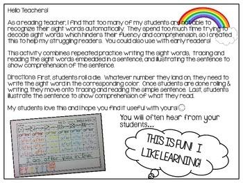 Rainbow Write Sight Words *Primer List*