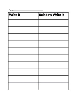 Rainbow Write Sight Words from Word Wall