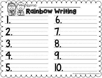 rainbow write template by catherine s teachers pay teachers