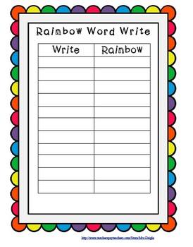 Rainbow Write Word Work