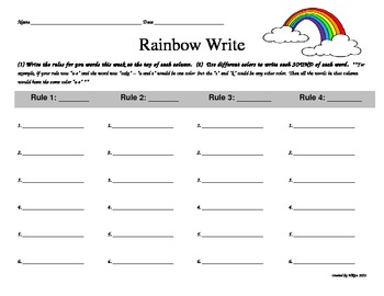 Rainbow write word work by doted materials teachers pay for Rainbow writing spelling words template