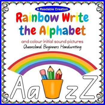 Rainbow Write the Alphabet - QLD Beginners Handwriting {AU Version}