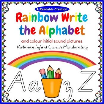Rainbow Write the Alphabet - VIC Infant Cursive Handwriting {AU Version}