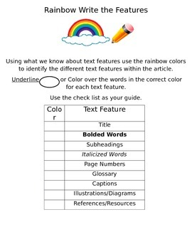 Rainbow Write the In Text Features