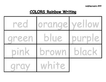 Rainbow Writing - All Color Words