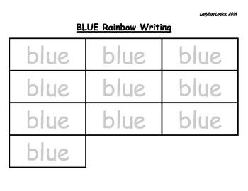Rainbow Writing - Color Word - Blue