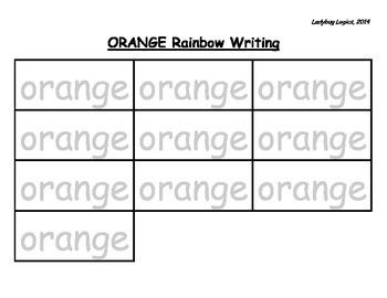 Rainbow Writing - Color Word - Orange