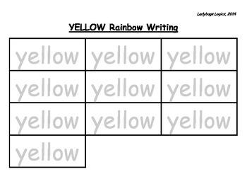 Rainbow Writing - Color Word - Yellow
