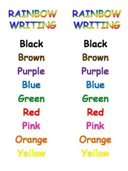 Rainbow Writing Color Words Order Printable {FREEBIE}