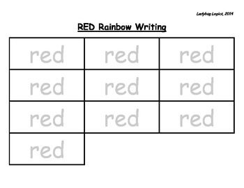 Rainbow Writing - Color Words - Red
